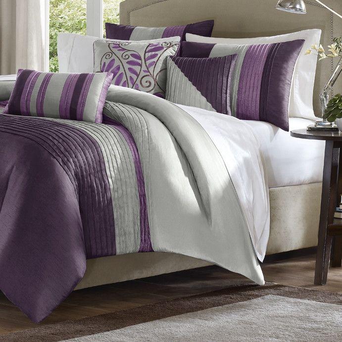 King Size Bed In Bag Comforter Set Amethyst Plum Purple Gray Stripes Comforter Sets Bed Comforter Sets Bedroom Red