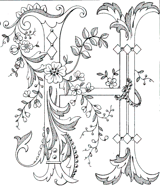 Free Printable Fancy monogram: Link to Antique Pattern Library, all
