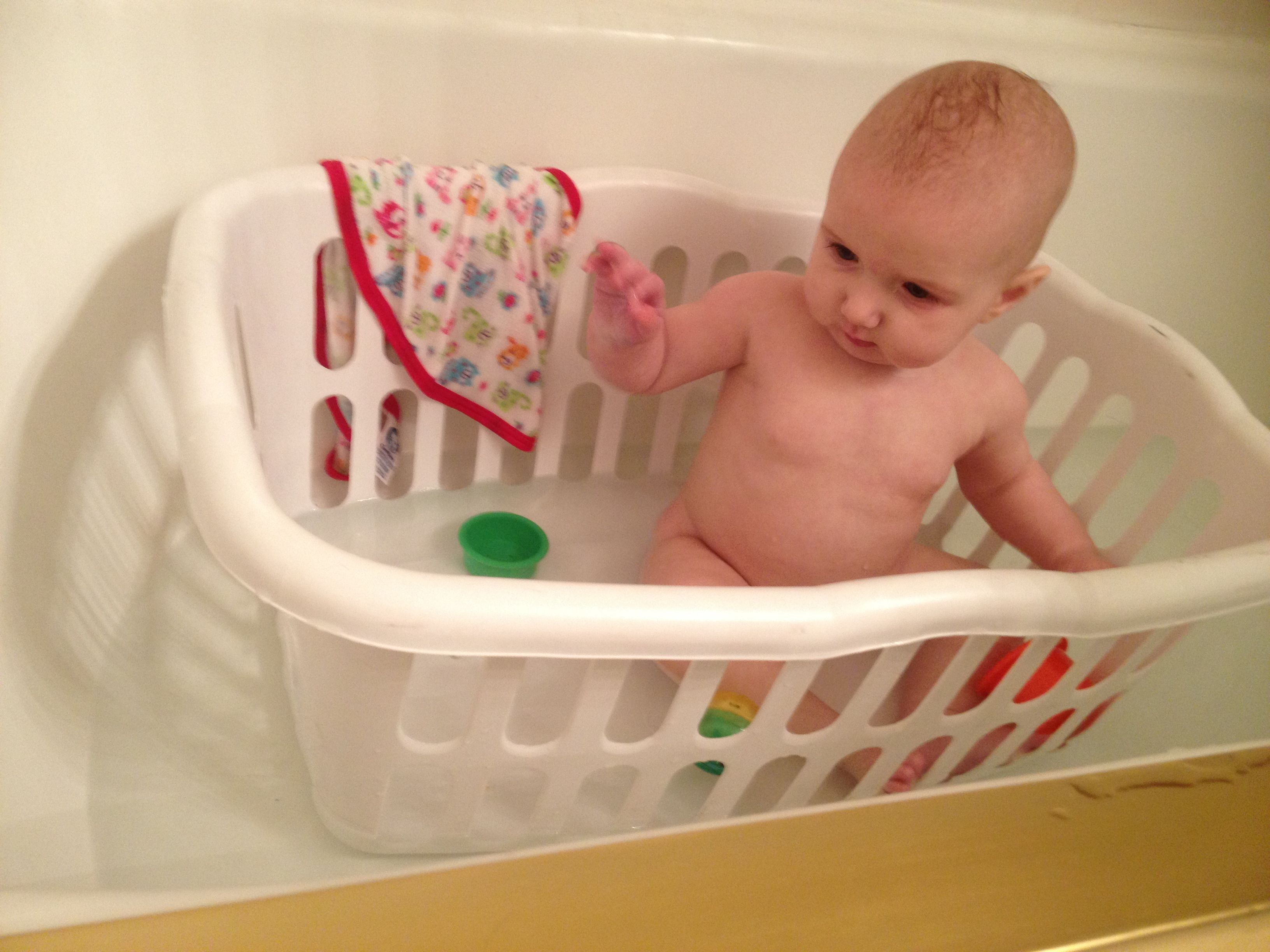 Use a laundry basket as a nonslip baby bath awesome idea tried this with my great niece it worked out great it gave her a safe small area to play in
