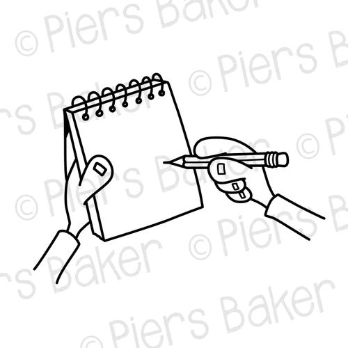 HandsNotepadWriteDrawPen — SVG Doodle Whiteboard Animation