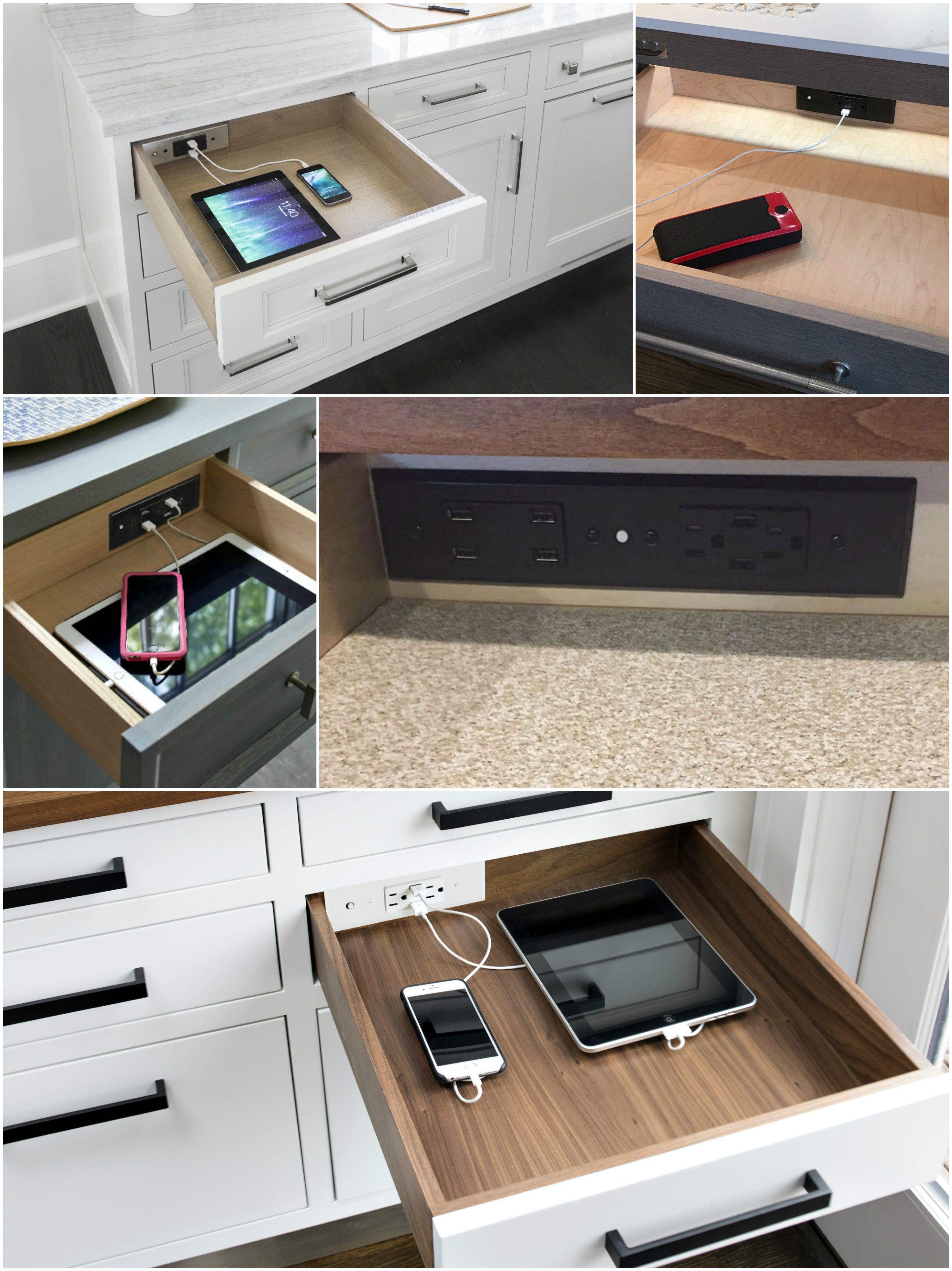 Look At All Those In Drawer Charging Outlets What A Perfect Way To Make A Charging Station In Your Home Built In Desk Cool Kitchens House Design