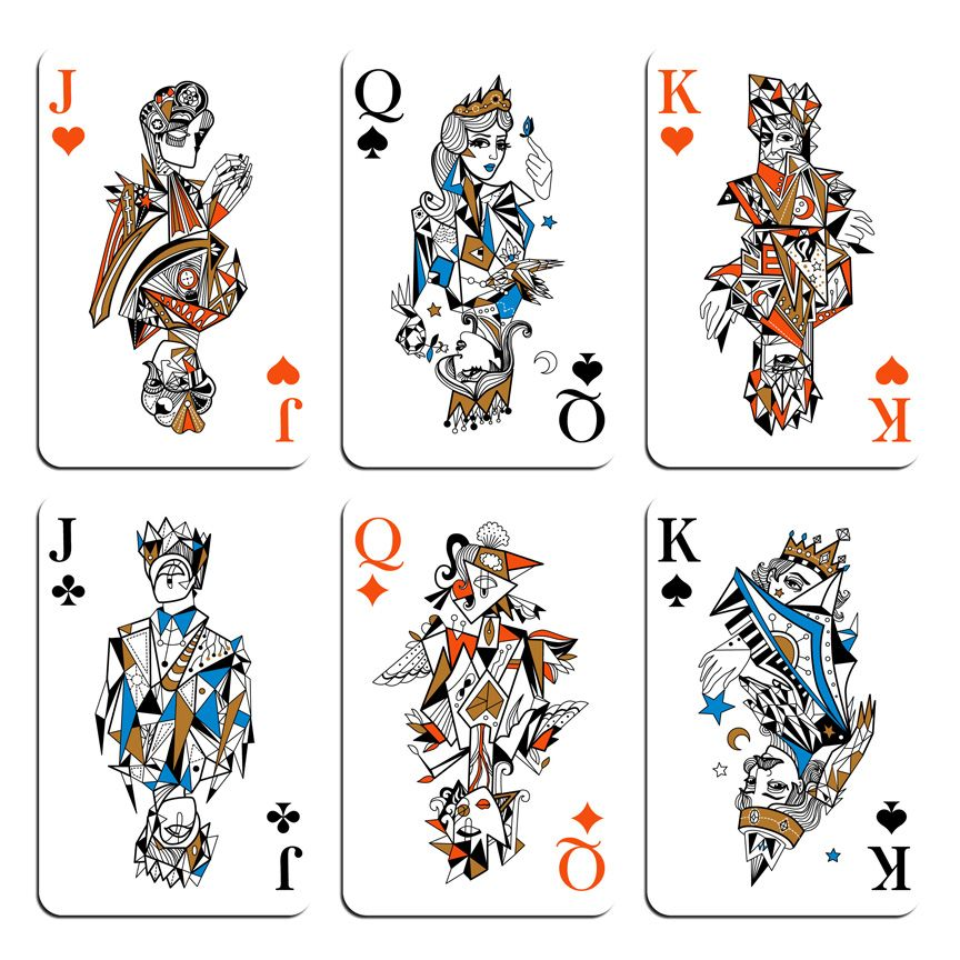 pretty line work on the faces playing card graphic design - Google ...