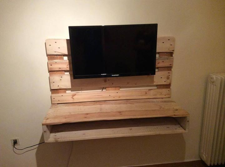 High Quality DIY Pallet Wall Hanging TV Stand With Storage