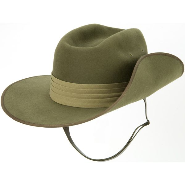 4524e6cb0 The Aussie Slouch Hat, one side turned up against the crown, has ...