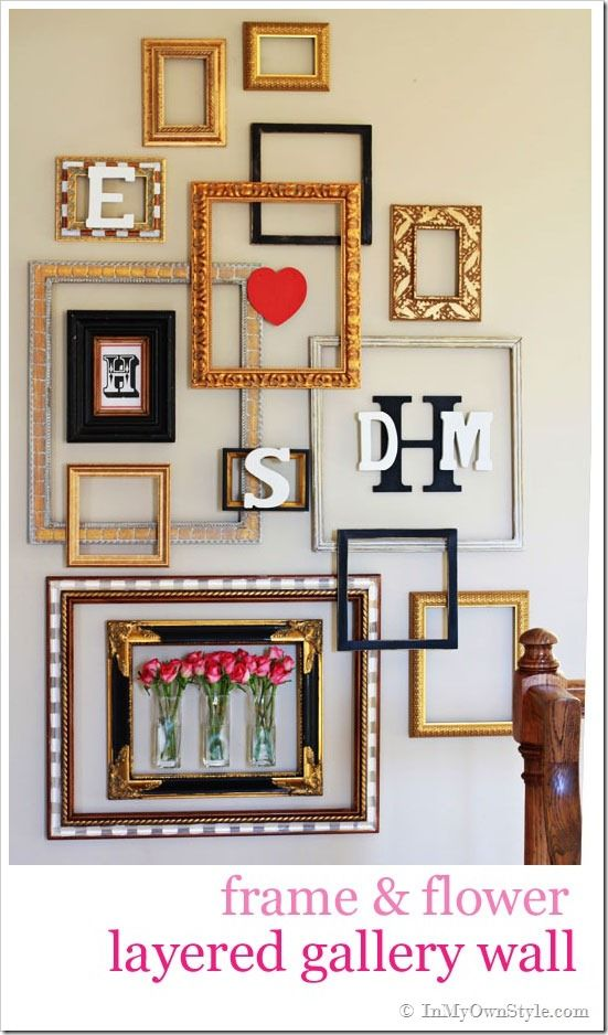 DIY  Frame U0026 Flower Layered Gallery Wall  How To Make An Empty Frame Gallery  Wall Awesome Design