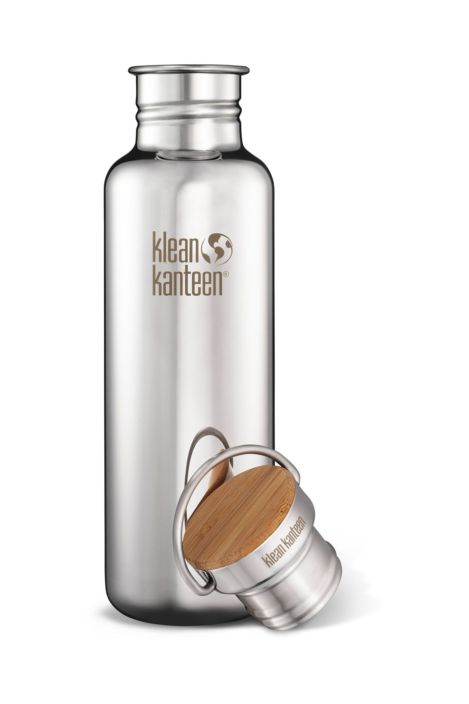 Klean Kanteen Stainless Classic Water Bottle Reflect Brushed Bamboo Cap 27oz