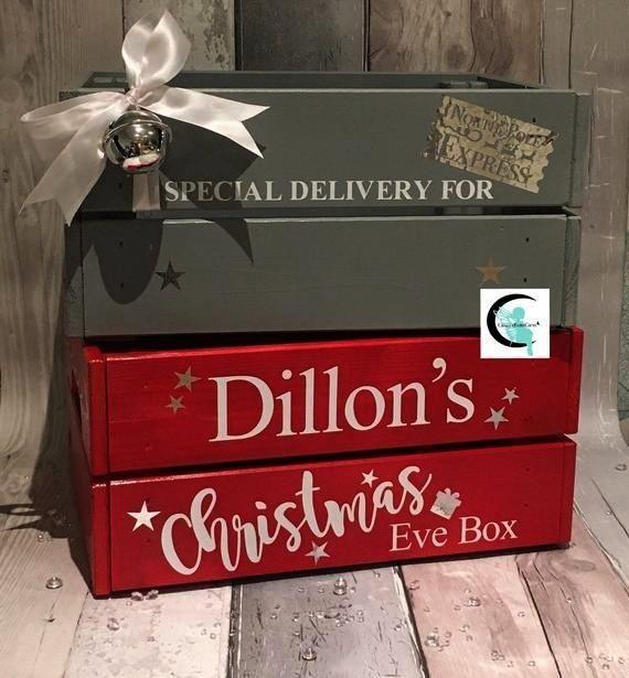 Eve Box MEDIUM Crate Personalised Wooden Painted festive Gift Keepsake SINGLE or FA Christmas Eve Box MEDIUM Crate Personalised Wooden Painted festive Gift Keepsake SINGL...