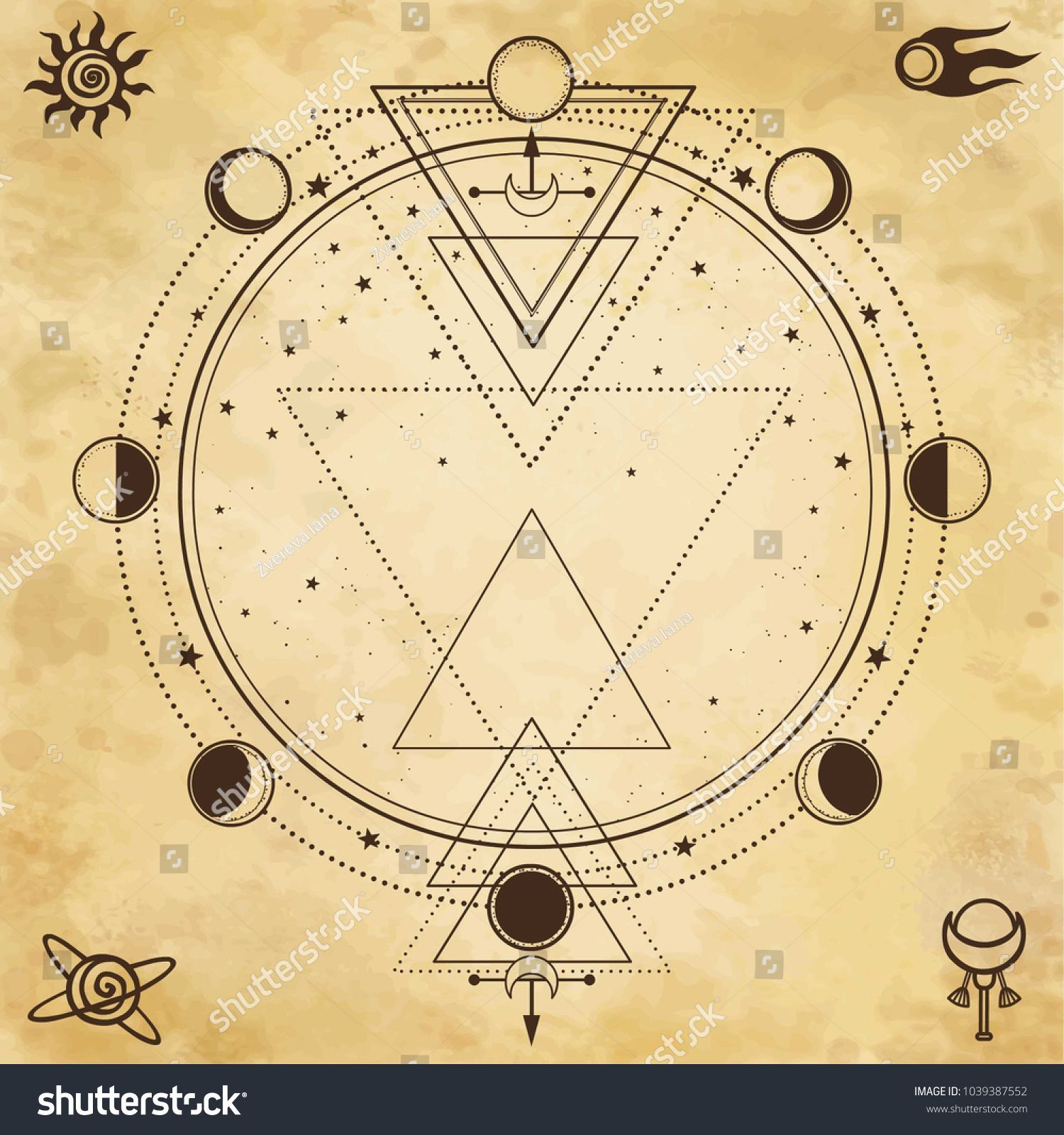Sacred Geometry Moon Women/'s Tee Image by Shutterstock