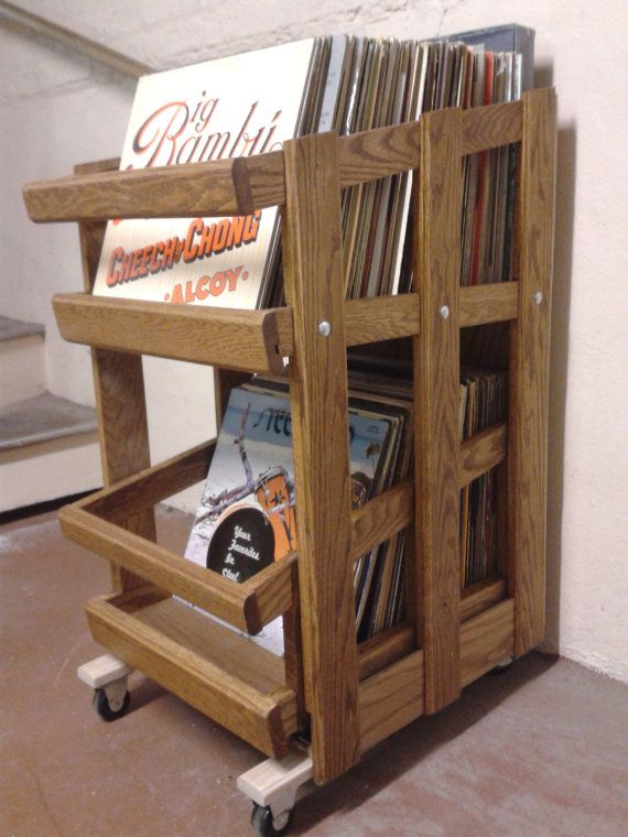 RC4 Vinyl Record Cabinet With Drawer Slide By GPWRecordCabinets
