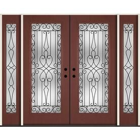 Reliabilt Wyngate Decorative Glass Right Hand Inswing Wineberry Fiberglass Stained Entry Door Common 96 Double