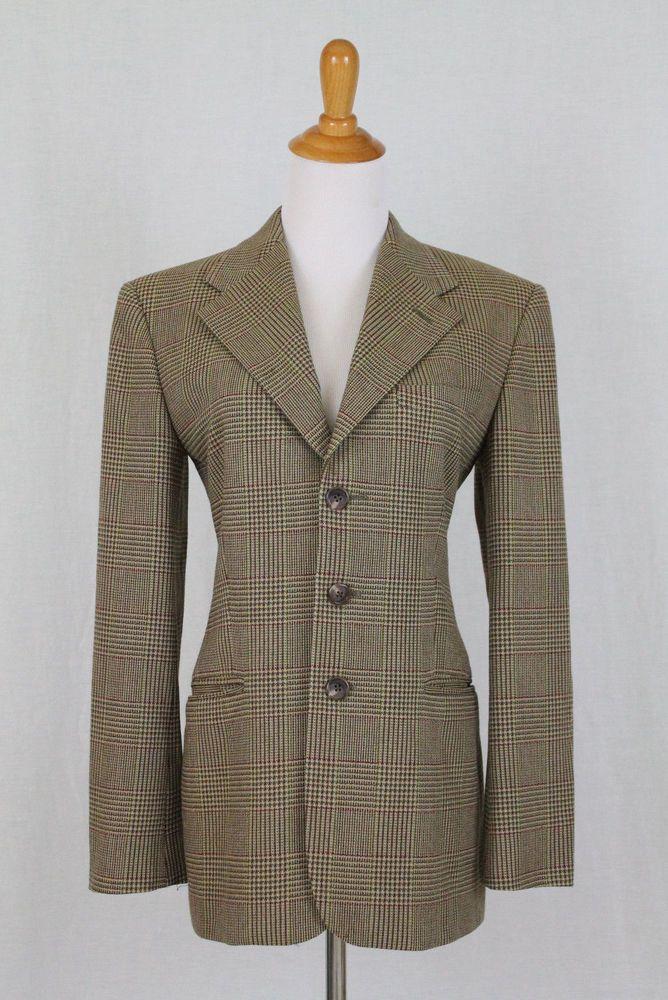 3483d698f35 Ralph Lauren Collection Purple Label Notch Collar Tan Wool Glen Plaid  Blazer 2  RalphLauren  Blazer