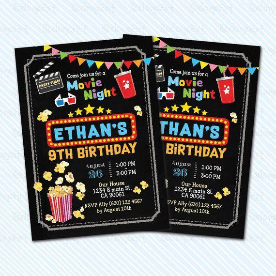 Digital Printable Movie Birthday Invitation. Movie Night