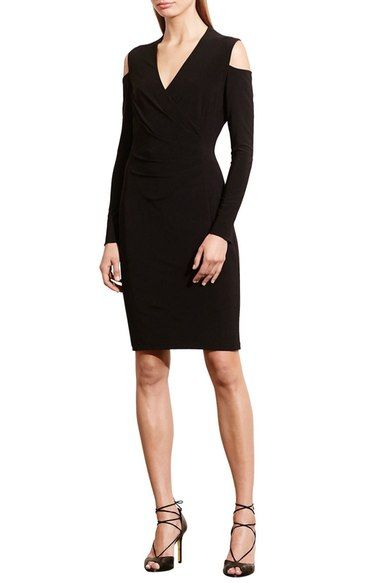 Lauren Ralph Cold Shoulder Jersey Sheath Dress Available At Nordstrom