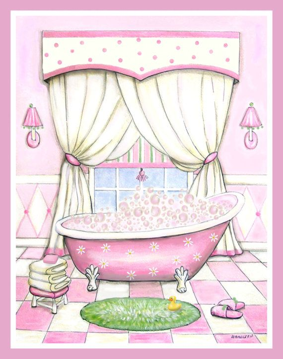 Girl\'s bath art, pink tub, wall art for bathroom,bathroom pictures ...