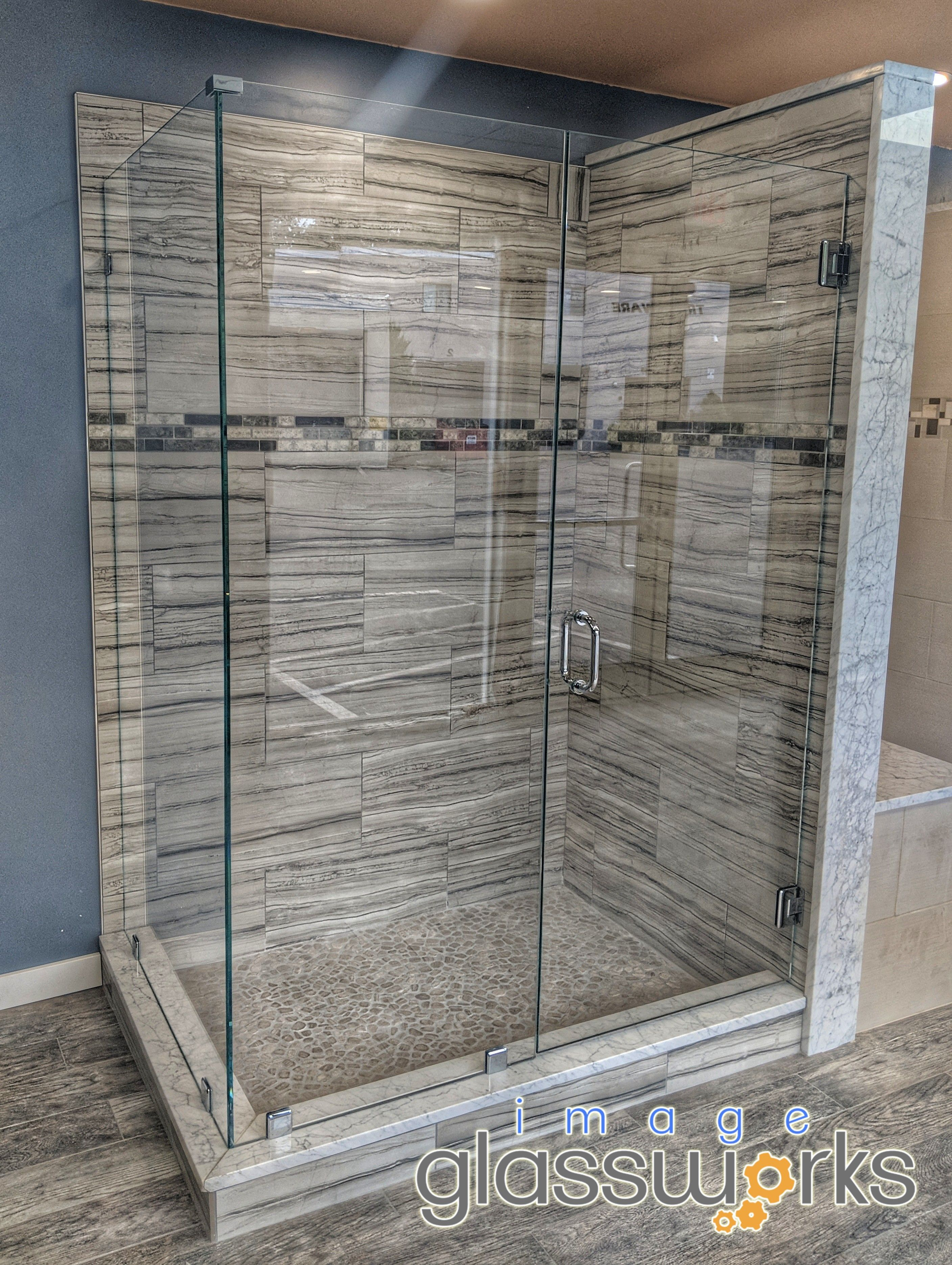 We Installed The First Of 5 Frameless Showers Into Our Showroom Today 1 2 Thick Low Iron Glass With Custom Shower Doors Frameless Shower Doors Shower Doors