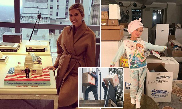 Ivanka Trump poses next to Donald's inauguration cake | Daily Mail Online