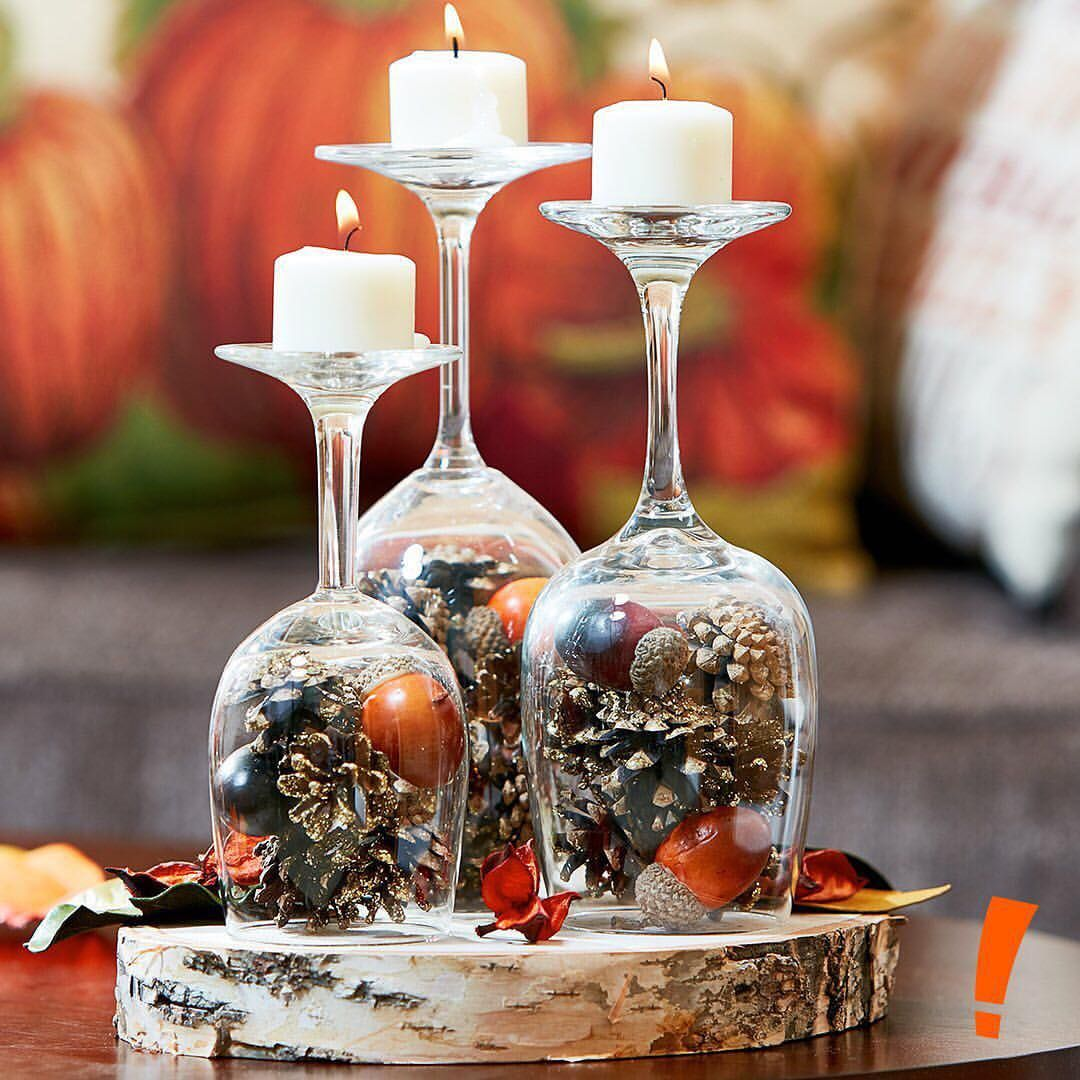Diy Decor Flip Over Old Wine Glasses Fill With Pinecones And Add A Tea Li With Images Christmas Decor Diy Diy Christmas Decorations Easy Christmas Table Decorations Diy