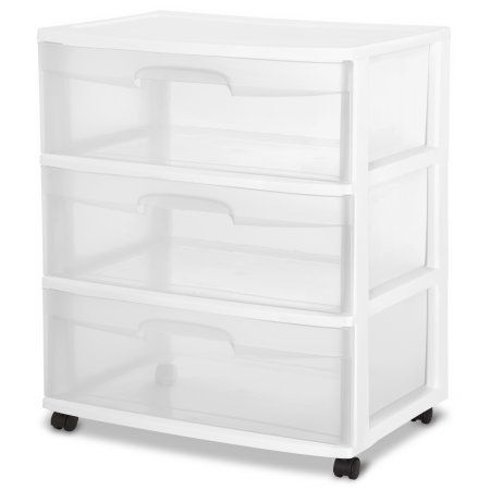 Sterilite Wide 3 Drawer Cart White Walmart Com Drawer Cart
