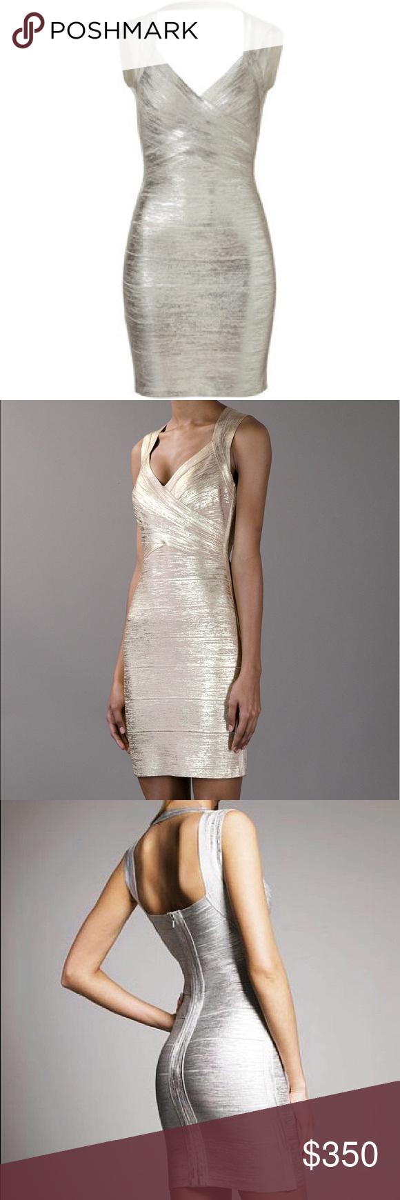 Herve leger white metallic dress the hervé léger silver tone