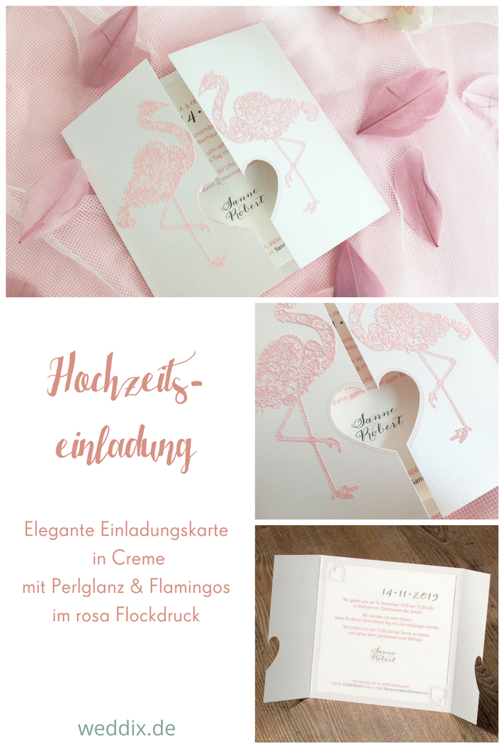 Einladungskarte Mit Flamingos Mit Flockdruck In Rosa Hochzeit