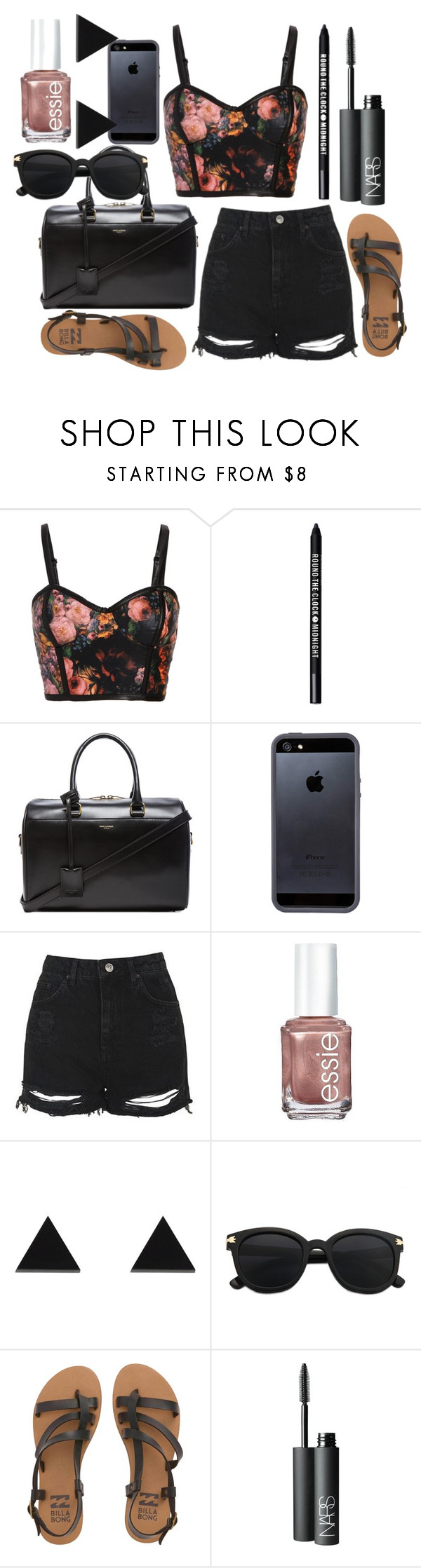 """""""Untitled #761"""" by freedom2095 ❤ liked on Polyvore featuring Bare Escentuals, Yves Saint Laurent, Tavik Swimwear, Topshop, Essie, Wolf & Moon, Billabong and NARS Cosmetics"""