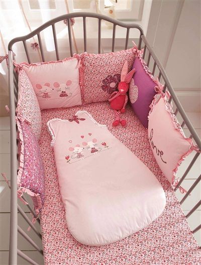 Tour de lit bébé brodé thème fille Birdy love ROSE - vertbaudet ...