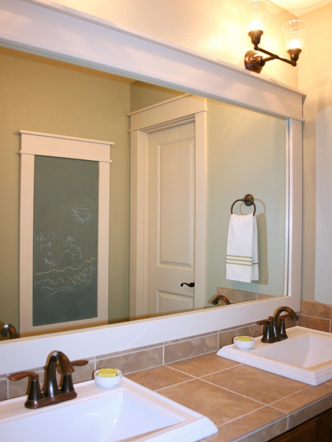 Interior bathroom rectangle white framed bathroom mirror decor with