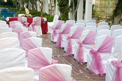 I like how the sashes are placed on the chairs.... Different! | Two ...