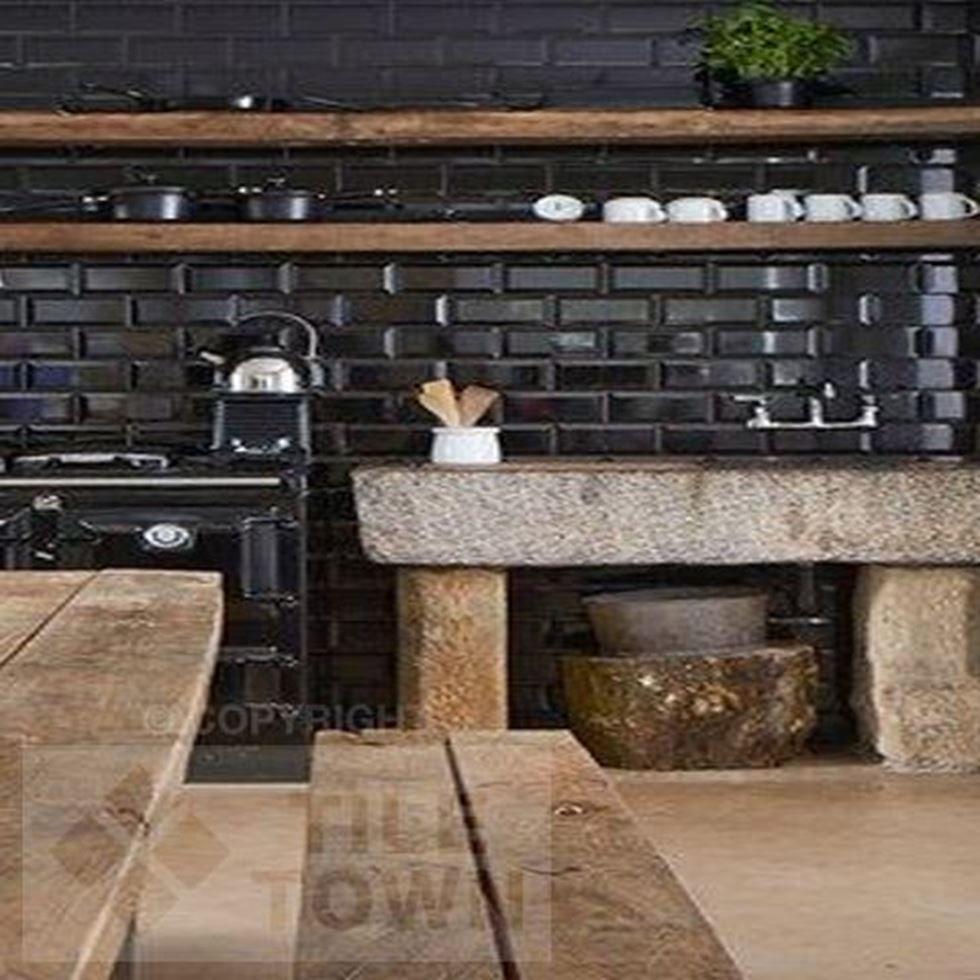 Metro Black Kitchen Wall Tiles This Black Coloured Kitchen