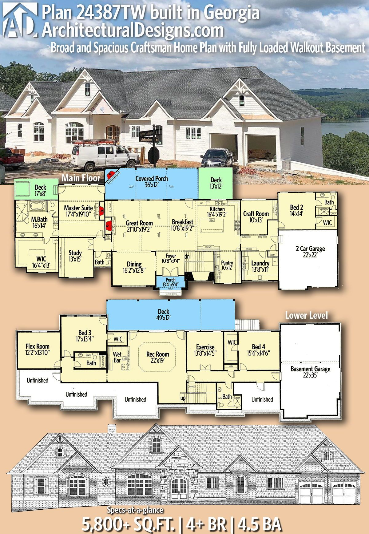 Plan 24387tw Broad And Spacious Craftsman Home Plan With Fully Loaded Walkout Basement Architectural Design House Plans Craftsman House Plans House Plans