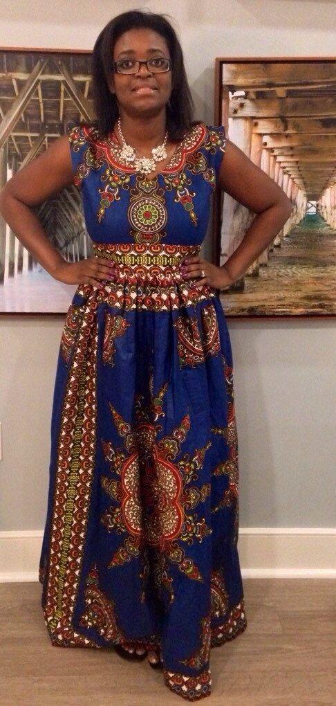 Dashki Fabric African Fashion Ankara Kitenge African: Blue African Dashiki Maxi Dress By MsAlabaAfricanShop