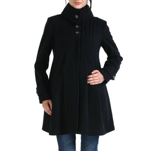 Momo Maternity Women`s Wool Blend `Jessie` Pleated Swing Coat in ...