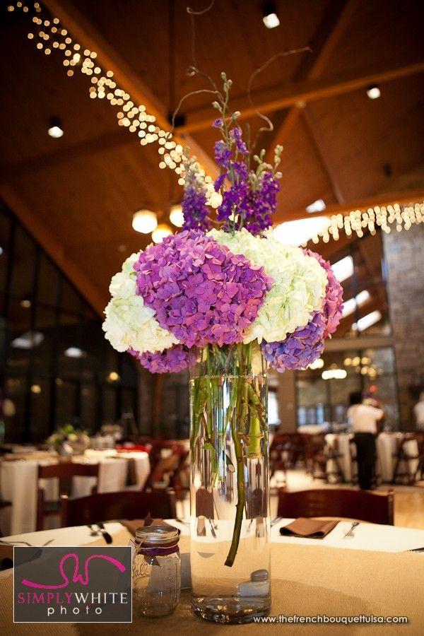 Tall purple and white hydrangea wedding flower bouquet