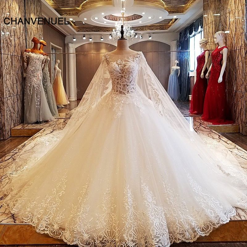Ls63907 Beads Sleeveless Wedding Dress High End Luxury Long Train Princess Bridal Gowns 2017