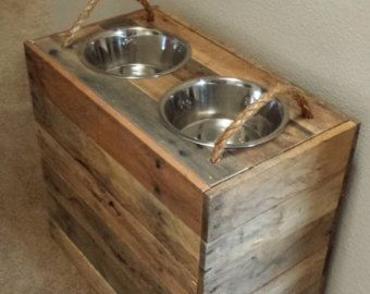 Tall Custom Large Dog  Reclaimed, Dog Food Bowl Stand  With Food Storage  Inside, And With Name