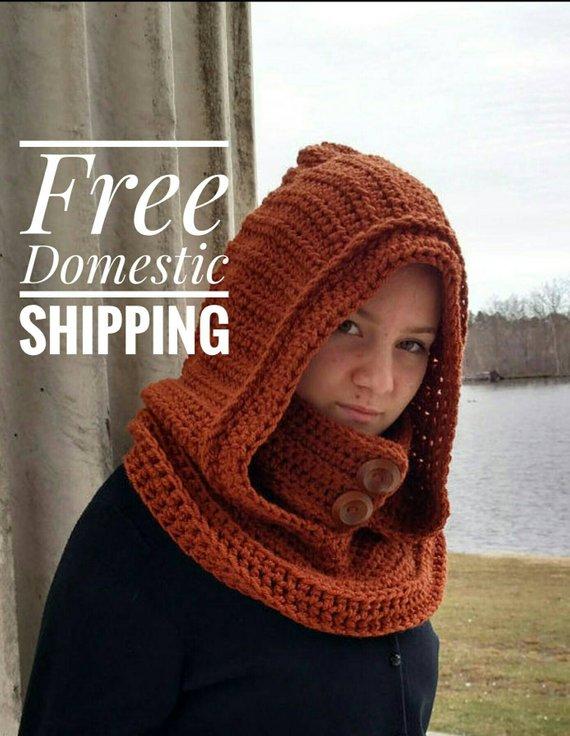 ea69a26b297 Hooded Cowl, Black Hooded Scarf, Oversized Knit Snood, Crochet ...