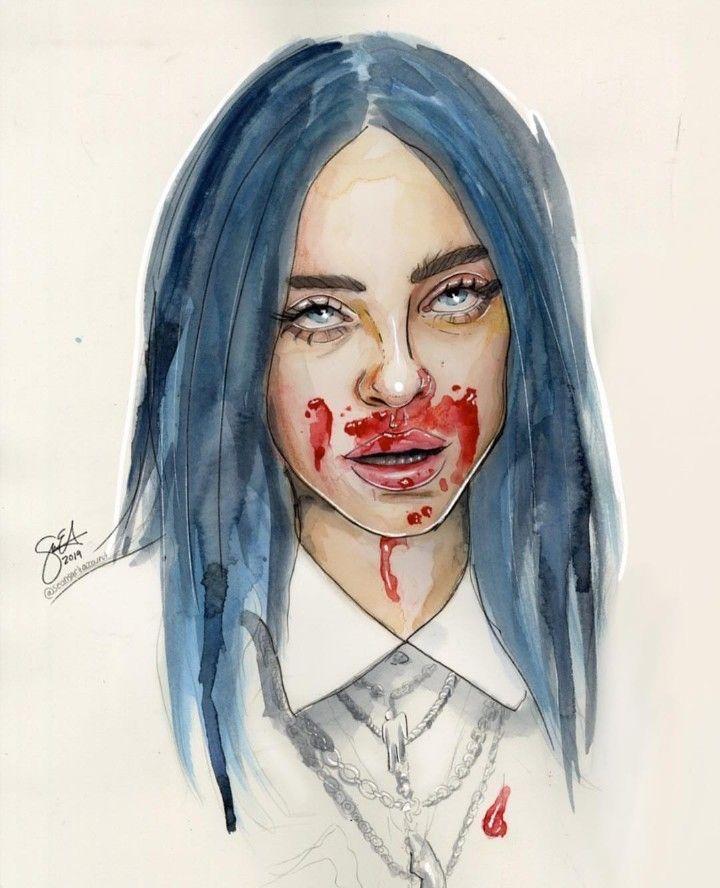Billie Eilish art by sean -  Billie Eilish art by sean  - #Art #bad #bad(audio) #badbad