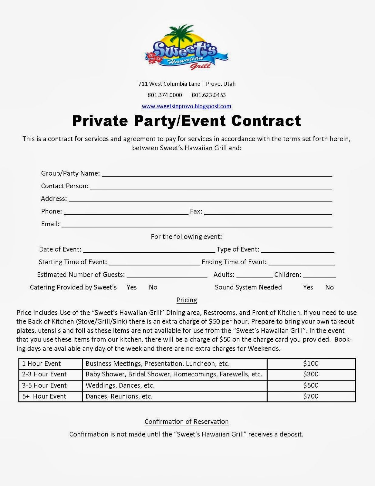 party planner contract template Google Search Event