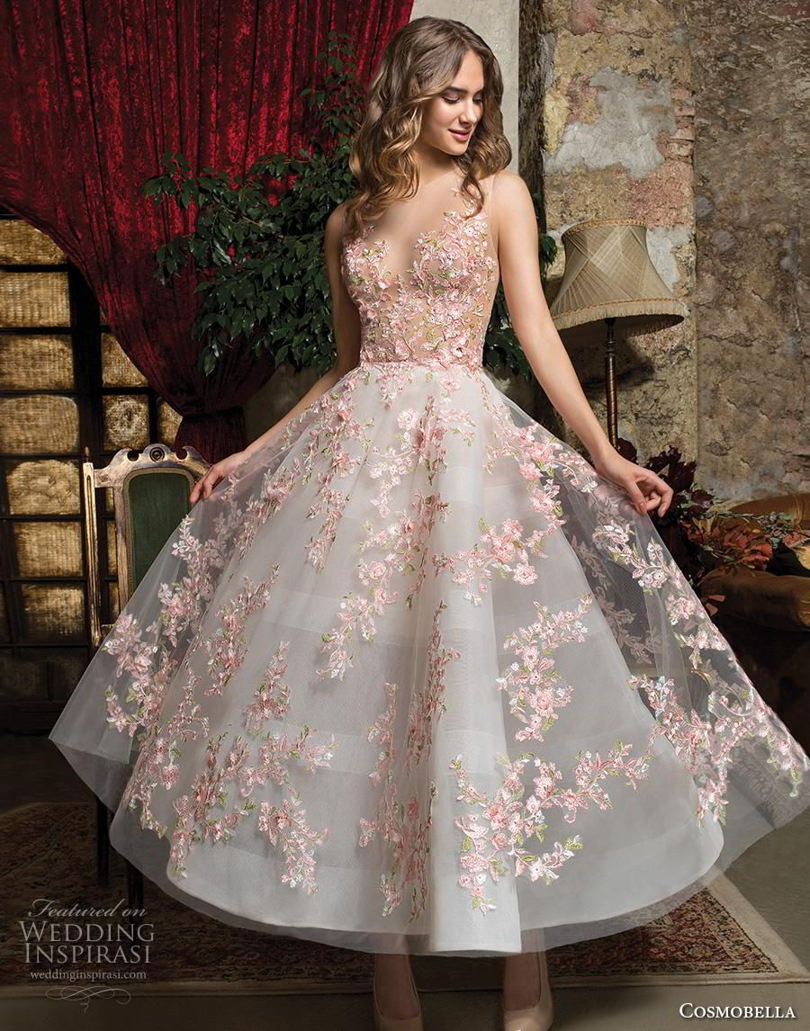 ba1f4737c05 cosmobella 2019 bridal sleeveless illusion jewel sweetheart neckline full  embellishment pretty romantic blush tea length short wedding dress button  lace ...