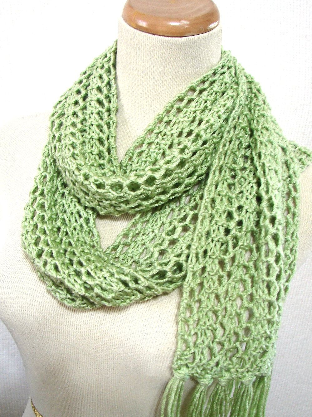 Green Scarf, Knit Scarf, Hand Knit Scarf, Lacy Scarf, Gift Idea For ...