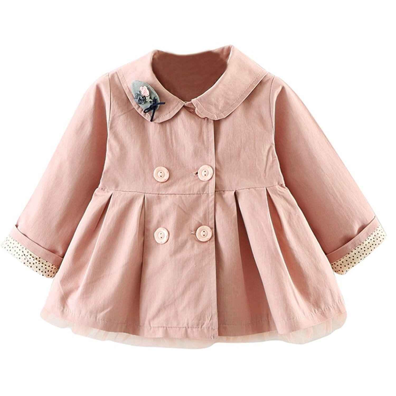 7d2051138 Little Baby Girls Fall Trench Coat Cartoon Lapel Collar Windbreaker ...