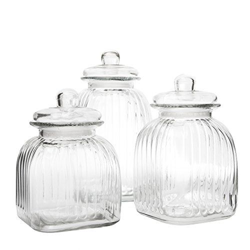 Square Ripple Design Retro Biscuit Jars Vintage Glass Kitchen Amusing Glass Kitchen Containers Design Inspiration