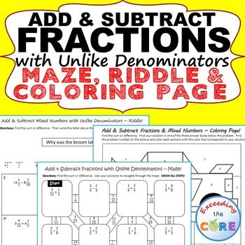 Add Subtract Fractions With Unlike Denominators Maze Riddle