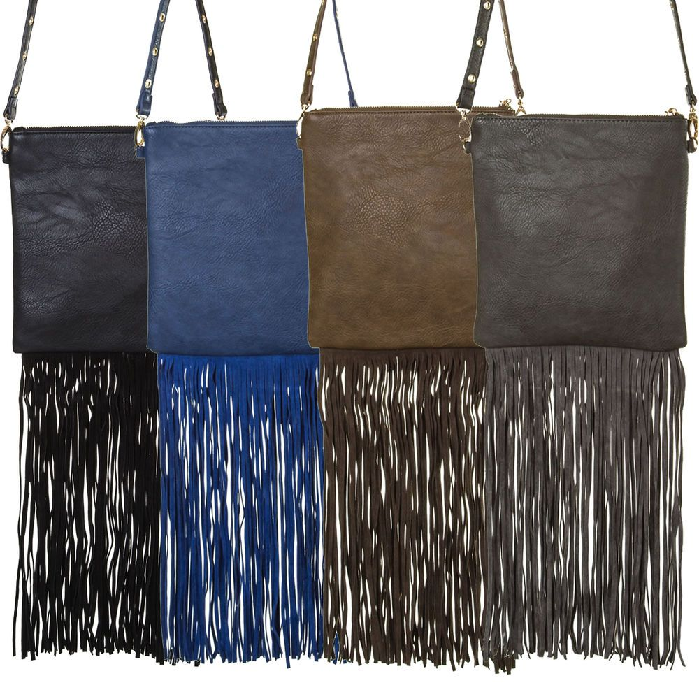 Long Fringe Solid Design Cross Body Messenger Bag #GetEverythingElse #MessengerCrossBody