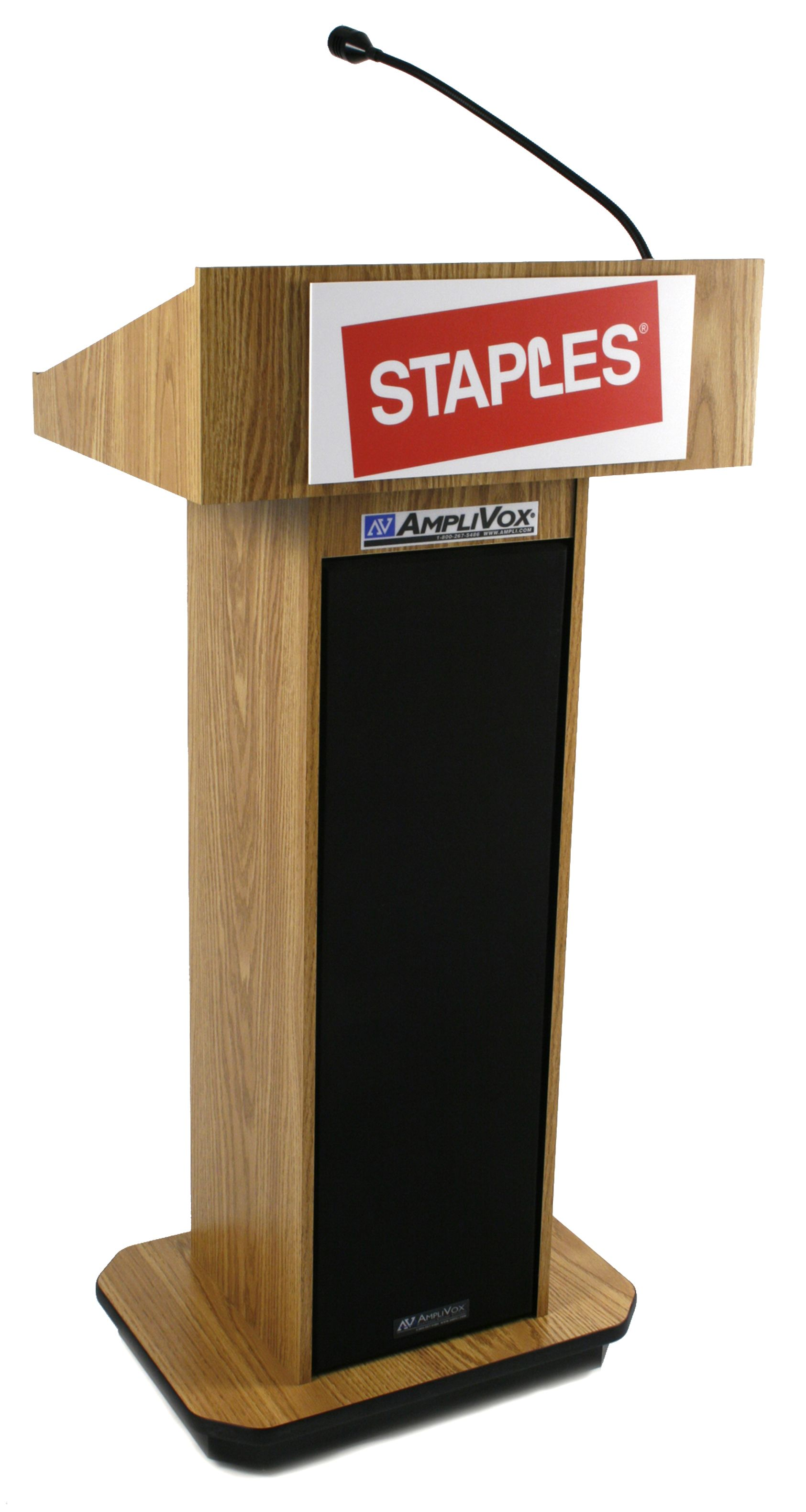 As A Proud Partner Of Staples Here Is A Custom Lectern We Created Just For Them Ampli Com Custom Logo Lectern Brand Custom Logos Lectern Lecterns