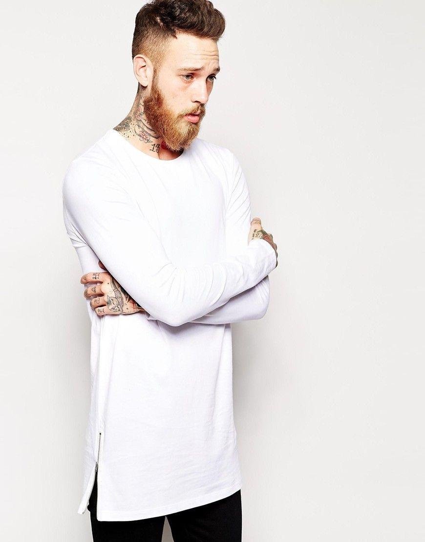 2016 Men Long T Shirt Brand Clothing Zipper T Shirt LARGE ...