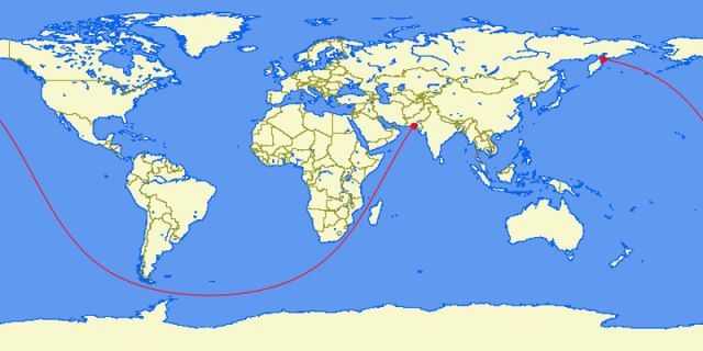 The longest straight line you can sail without hitting land. (Pakistan to Kamchatka Peninsula, Russia – 20000 miles)