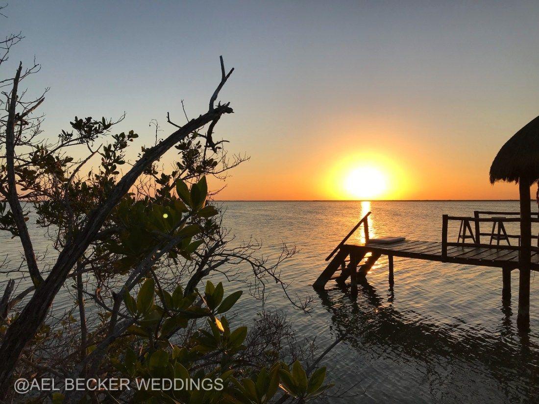 Lagoon Sunsets At Mukan Resort Sian Kaan Tulum Mexico Ael Becker Weddings
