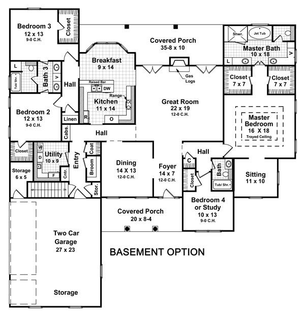 Basement apartment floor plans basement entry floor plans for Ranch floor plans with basement