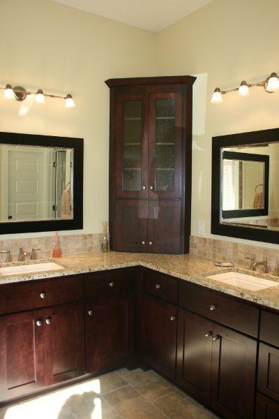 Unique Double Sink Idea Corner Dividing Cabinet In Master